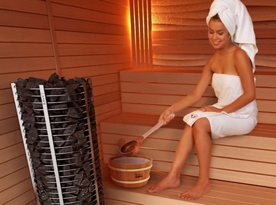 Sauna room with sauna heater